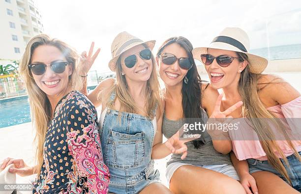Happy group of women enjoying their vacations