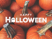 Happy Halloween Typography With Pumpkins Background, Horizontal