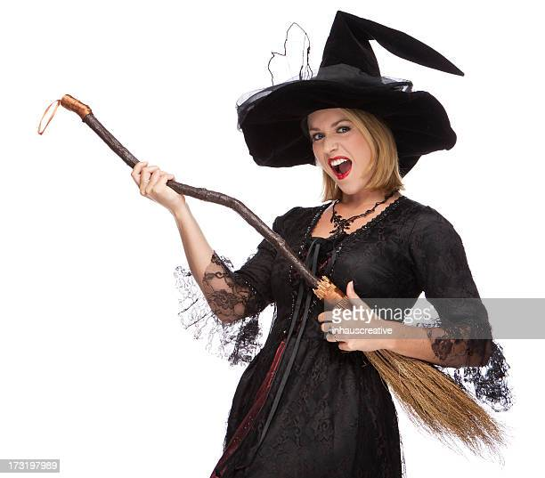 Happy Halloween Witch With Broom