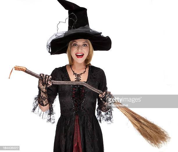 Happy Halloween Hexe mit einem Besen