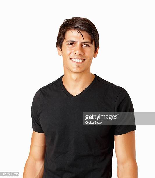 Happy handsome guy in black isolated on white
