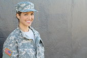 Happy healthy army female soldier.