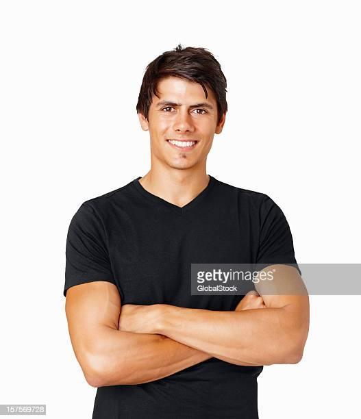 Happy healthy guy in black against white