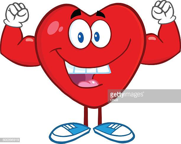 Happy Heart Showing Muscle Arms