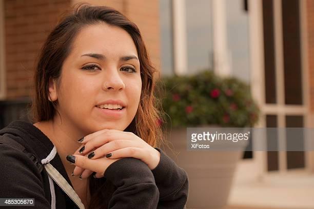 Happy Hispanic female college student