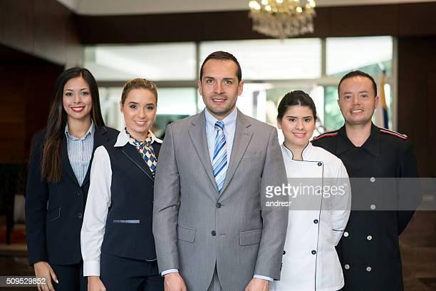 Happy hotel staff