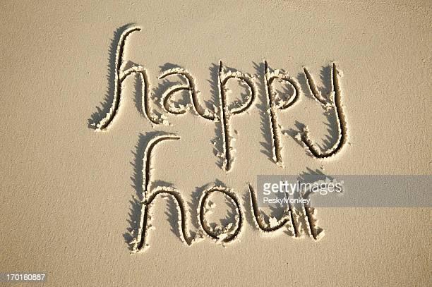 Happy Hour Message Handwritten in Clean Sand