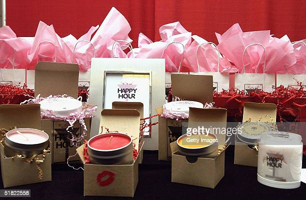 Happy Hour products are seen on display at the Distinctive Asset Gift Lounge during the KIIS FM Jingle Ball at the Arrowhead Pond on December 3 2004...
