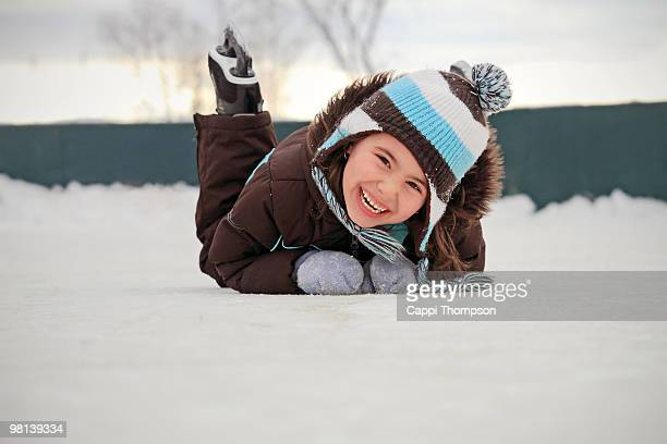 Happy ice skating child
