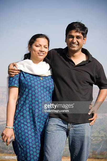 Happy Indian Couple Husband Wife Embrace Cheerful Lifestyle Vertical