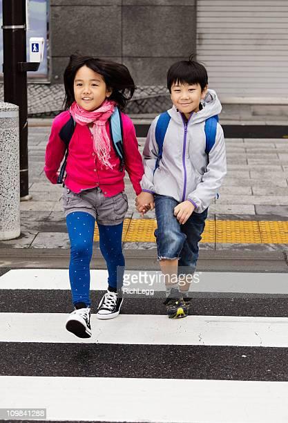 Happy Japanese Children Crossing the Street