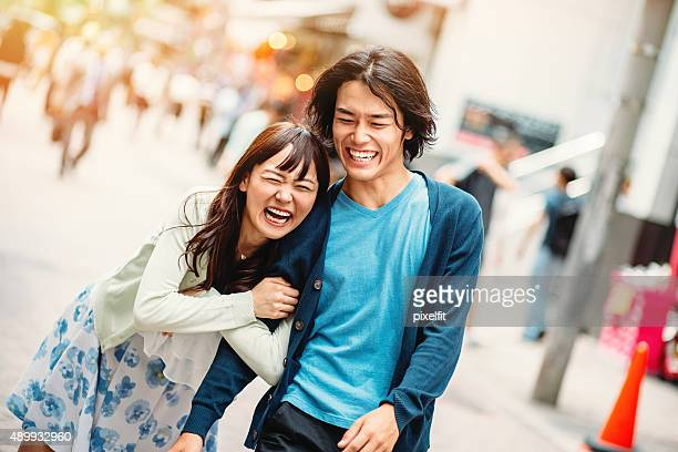 Happy japanese people outdoors
