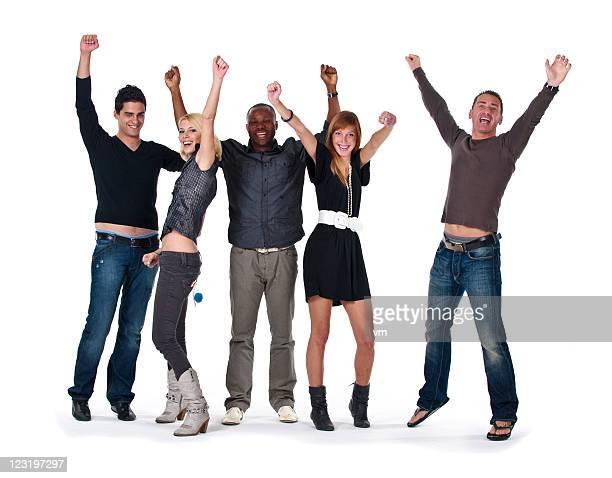 Heureux de sauter groupe placer les mains