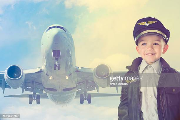 Happy kid with airplane