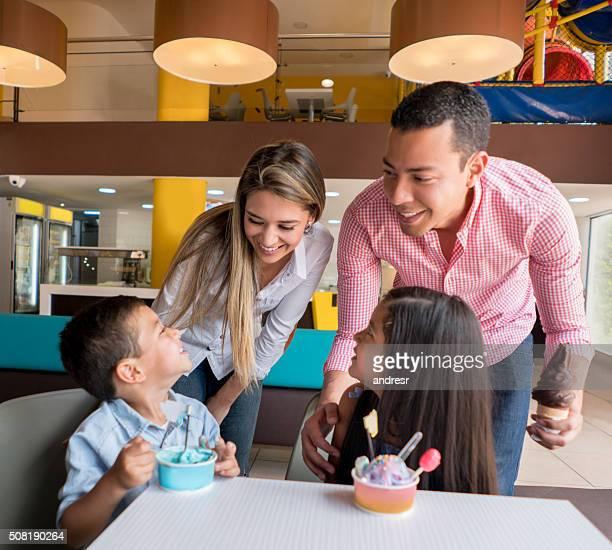 Happy kids at an ice cream shop