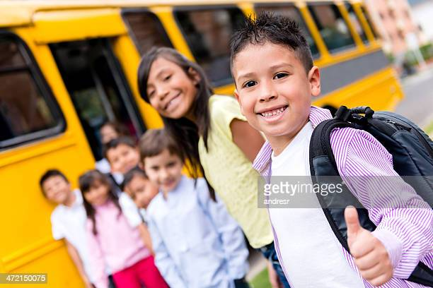 Happy kids going to school