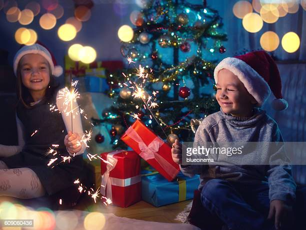Happy kids having fun during Christmas time