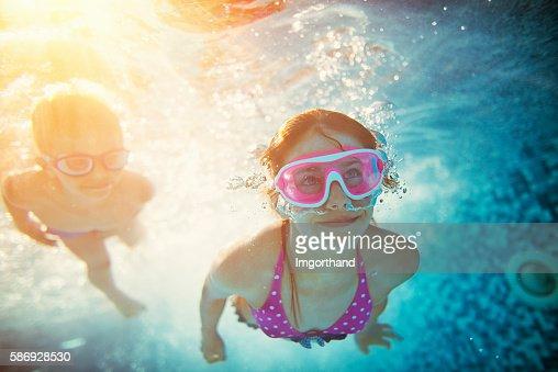 Kids Swimming Underwater Stock Photo Getty Images