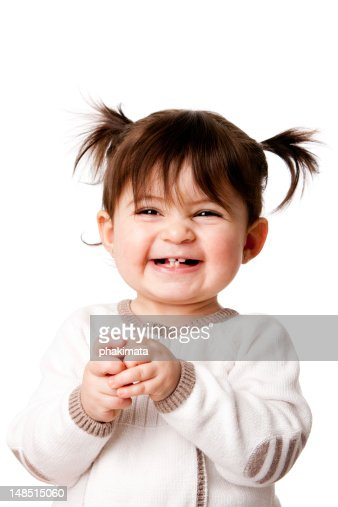 Happy laughing baby toddler girl : Stock Photo