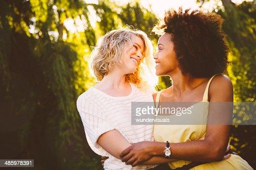 Happy lesbians couple