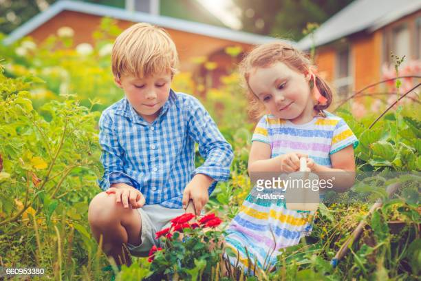 Happy little girl and boy in garden