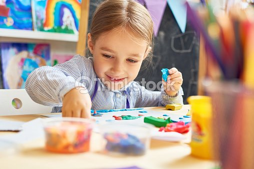 Happy Little Girl in Development School : Stock Photo