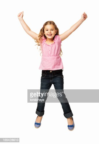 Happy Little Girl Jumping - Isolated : Stock Photo