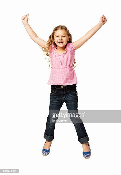 Happy Little Girl Jumping - Isolated
