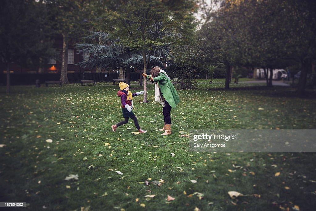 Happy little girl running to meet her Grandmother