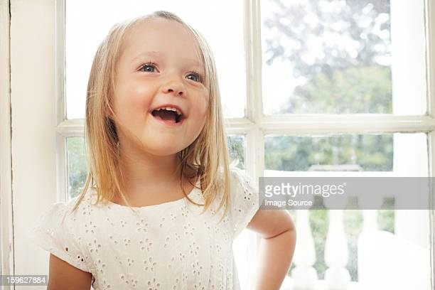 Happy little girl talking