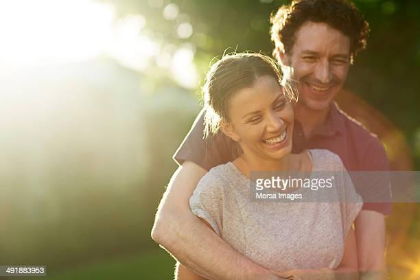 Happy loving couple in park