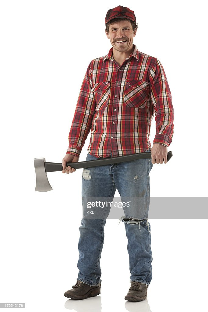 Happy lumberjack holding an axe