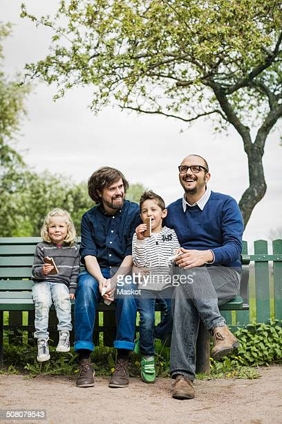 Happy male homosexual family spending leisure time at park