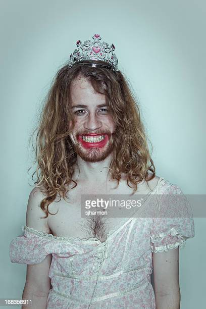 Happy Male Prom queen in drag tiara on head lipstick