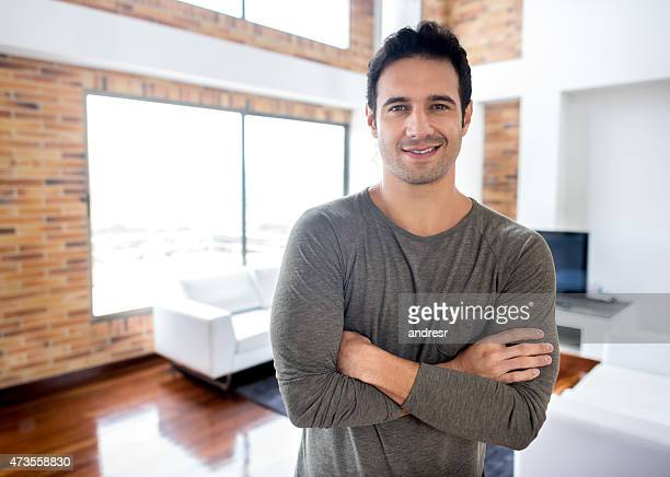 Happy man at home