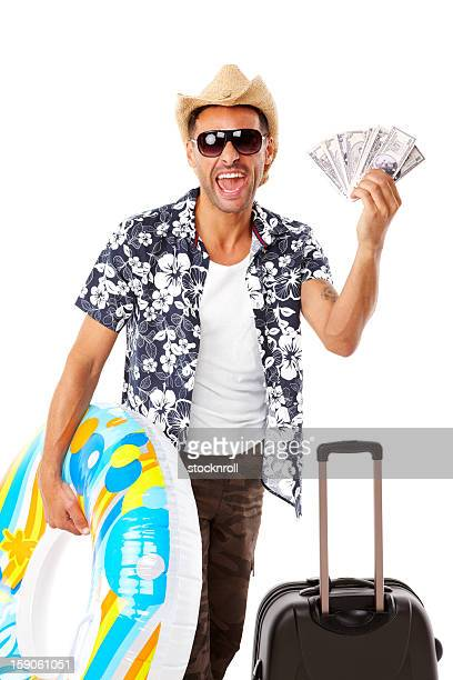 Glücklicher Mann bereit für den Sommerurlaub