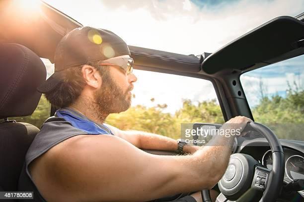 Happy Man Driver Driving Convertible Car