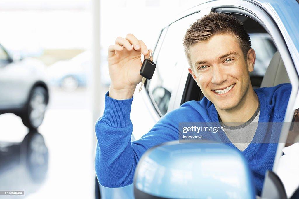 Happy Man Holding Car Key : Stock Photo