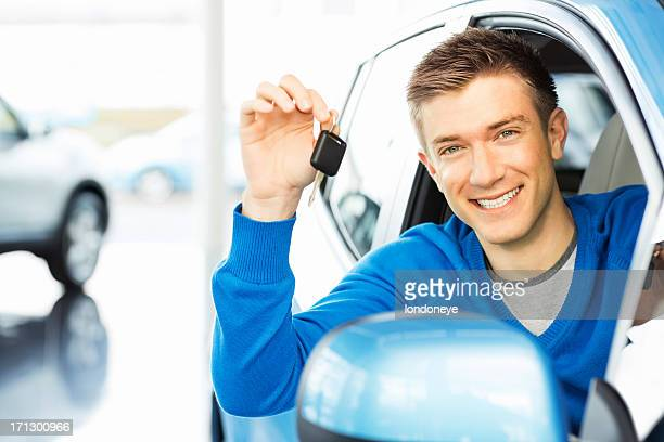 Happy Man Holding Car Key