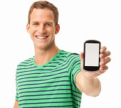 Happy Man Holding Smart Phone - Isolated