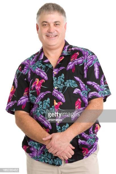 Glücklicher Mann In Hawaiian Shirt