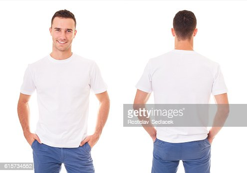 Happy man in white t-shirt : Foto de stock