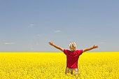 Happy Caucasian Male on the Prairie in Canola Field