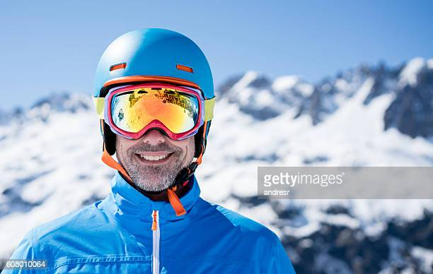 Happy man skiing