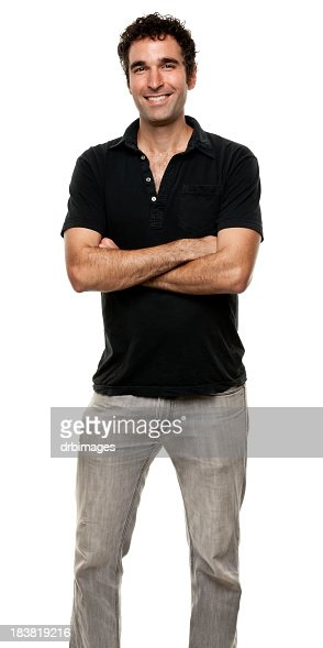 Happy Man Standing With Arms Crossed
