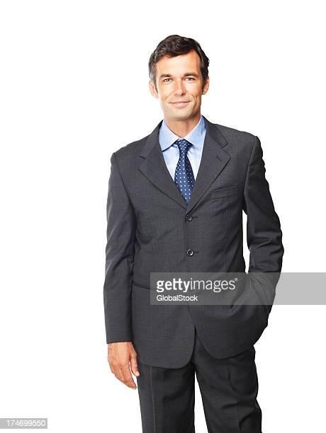 Happy mature businessman posing