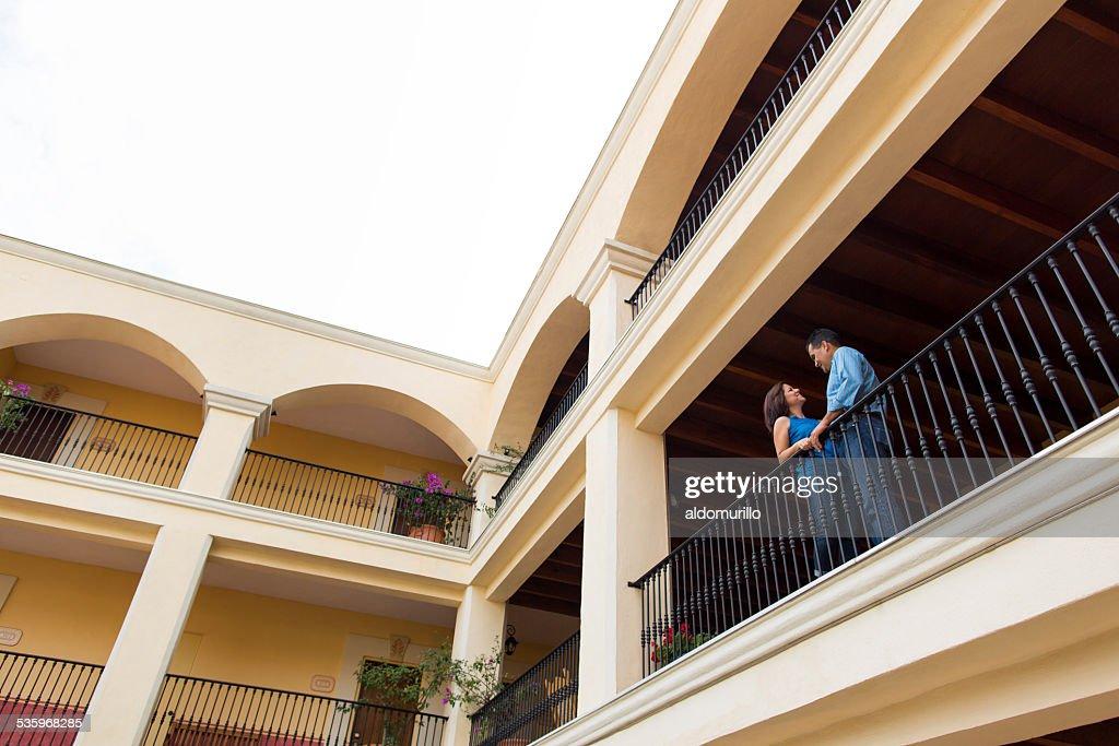 Happy mature couple at balcony : Stock Photo