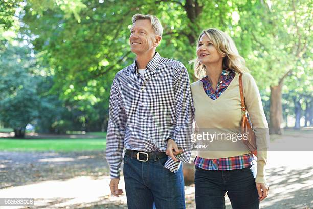 Happy mature couple in the park