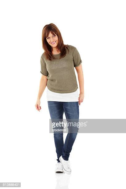Happy mature woman posing in stylish casuals