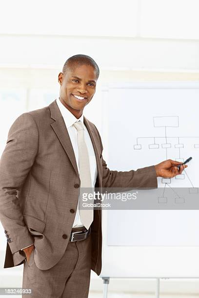 Glückliche mittleren Alter Geschäftsmann geben eine Präsentation im Büro